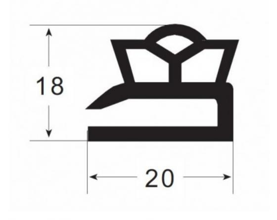 Burlete puerta pvc mod.ur-104 negro (3m)