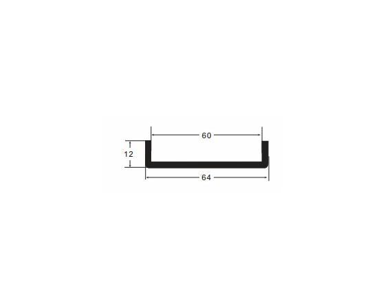 Burlete pvc n-5 negro u 10x60x10(tira 2m